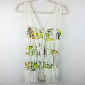 WESTON WEAR ANTHRO Layered Floral Cream Tank Top